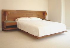 Cozy Wood Headboard Designs Using Floating Bed Design Pictures - Home Interior Design Ideas Floating Platform Bed, Floating Bed Frame, Floating Headboard, Headboard With Shelves, Wood Platform Bed, Wood Headboard, Modern Headboard, Headboard Ideas, King Headboard