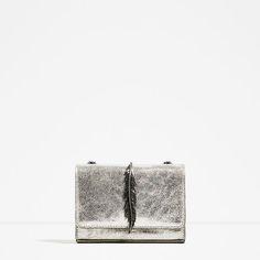Image 2 of METALLIC LEATHER CROSSBODY BAG from Zara