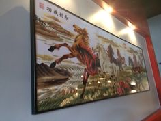 A personal favorite from my Etsy shop https://www.etsy.com/listing/269907639/eight-horses-needlepoint-chinese-wall