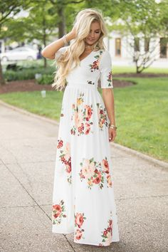 Sweet Love Song Floral Maxi Dress Ivory