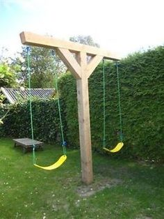 A compact swing set for the backyard. Could also attach a climbing rope to one side, as well.