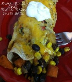 black bean sweet potato enchilada