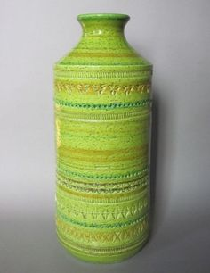 """Vintage Aldo Londi Bitossi Italy Vase Midcentury Green Ochre Pottery 12 5"""""""