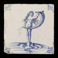 Tegel: Fortuna 1640 - 1680 126 mm x 126 mm x 10 mm The Tiles Collection Delft Tiles, Dutch Golden Age, Floor Cloth, Antique Tiles, Clay Tiles, Friend Tattoos, Blue China, Bunt, Mosaic