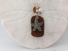 Amber Sea Glass Necklace Starfish Beach Seaglass Jewelry Sea Glass Necklace, Sea Glass Jewelry, Swarovski Crystal Beads, Pearl Beads, Jewelry Making Supplies, Glass Pendants, Starfish, Amber, Beaches
