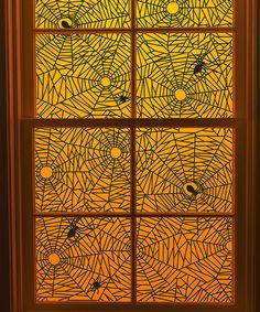 Martha Stewart Crafts Spiderweb Window Cling - Set of Two Halloween Goodies, Holidays Halloween, Scary Halloween, Halloween Crafts, Happy Halloween, Halloween Party, Scary Scary, Halloween Ideas, Diy Halloween Window Decorations