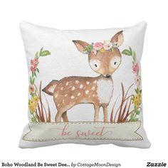Boho Woodland Be Sweet Deer Fawn Nursery Pillow