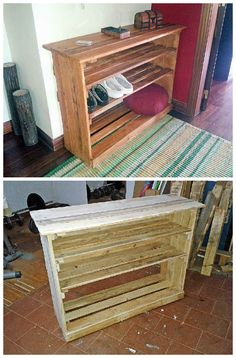 A place to store the shoes near the entry when people arrive with this shoe rack made from upcycled wooden pallets. Submitted by: Jorge Gusmao!