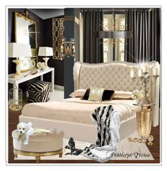 """Old Hollywood Glam Bedroom"" by pebbles78 ❤ liked on Polyvore featuring interior, interiors, interior design, home, home decor, interior decorating, Safavieh, West Elm, Ethan Allen and Buccellati"