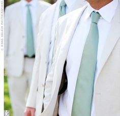The eight groomsmen wore stone-colored cotton-linen suits with sea-foam ties to match the bridesmaids.