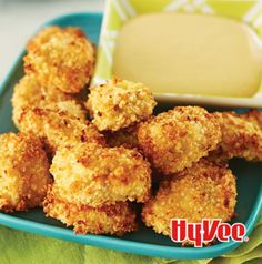 Crispy Quinoa-Coated Chicken Bites are baked, not fried, but you won't believe it. They are so crispy and delicious. The honey mustard dipping sauce is to die for.