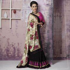 Cream & Black Color Half Brasso & Half Georgette Party Wear Sarees : Prunit Collection  YF-37747