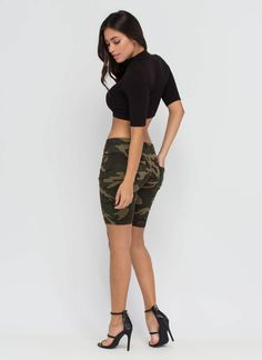 Camo Creation Long Denim Shorts GoJane.com