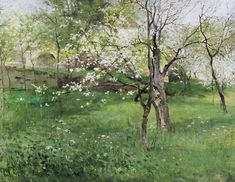 Antonin Slavicek - Blossoming orchard at Okor Cold Mountain, Spring Art, Landscape Paintings, Landscapes, Anton, Drawing Sketches, Illustration Art, Sad, Fine Art