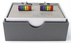 Kenneth Cole New York Kenneth Cole Reaction Metallic Silver Men's Rainbow Pride Cufflinks