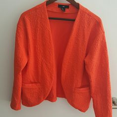 Bright fun blazer No button, 2 pocket jacquard knit blazer in the happiest shade of orange. Add a pop to any outfit this season!  Poly/viscose/spandex fabric is lightweight and soft H&M Jackets & Coats Blazers