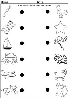 Rockin' Teacher Materials: A Trip Down Kindergarten Lane & a Freebie! : A long time ago, I taught kindergarten and I always had a full le. Rhyming Worksheet, Rhyming Activities, Kindergarten Worksheets, Toddler Worksheets, Matching Worksheets, Reading Worksheets, Kindergarten Language Arts, Kindergarten Literacy, Literacy Centers