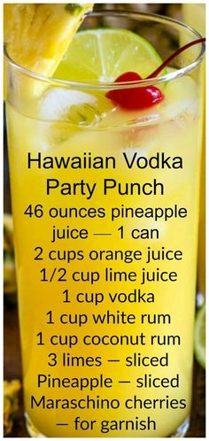 Hawaiian Party Punch ~ An easy vodka party punch with rum and pineapple. Hawaiian Party Punch is an easy vodka party punch with rum and pineapple. This easy cocktail recipe is the perfect punch for a party or summer BBQ. Cocktails Vodka, Liquor Drinks, Cocktail Drinks, Easy Cocktails, Cocktail Recipes, Rum Liquor, Bourbon Drinks, Summer Cocktails, Mixed Drinks Alcohol