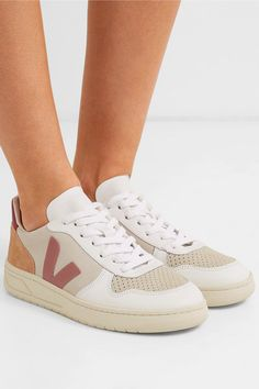 Veja Net Sustain V lock Leather Sneakers in White Save 6