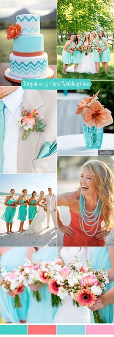fresh turquoise and coral summer wedding colors for 2017 Wedding Colors 2017 Summer, Wedding Ideas For Summer, Coral Color Wedding, Wedding Colors For August, Orange Turquoise Wedding, Summer Wedding Dresses, Coral Wedding Cakes, Turquoise Weddings, August Colors