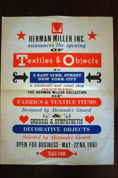 All sizes | Original 1961 Textiles and Objects poster Herman Miller | Flickr - Photo Sharing!