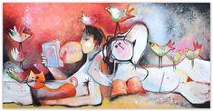 Painting, Canvas, Grandchildren, Reading, Tela, Painting Art, Paintings, Canvases, Painted Canvas