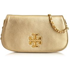 Tory Burch Britten Golden Clutch ($476) ❤ liked on Polyvore featuring bags, handbags, clutches, сумки, leather flap handbag, leather clutches, golden clutches, genuine leather handbags and beige leather purse