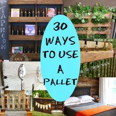 DIY Round UP: 30 Ways to use a Pallet. Let's reuse items! Pallet Crates, Pallet Art, Diy Pallet Projects, Diy Projects To Try, Home Projects, Home Crafts, Diy Crafts, Pallet Ideas, Pallet Fence