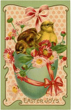 Such a pretty Easter image from a The Fairy. In a frame, transferred to a towel or pillow-- quick & lovely!