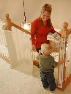 Retractable safety gate for children, dogs or cats. Extremely durable, Use anywhere including the top or bottom of stairs, indoors, or outdoors.  Safe and easy one hand operation, locks open or closed.  Reliable security for baby or pet.