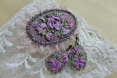 Mysterious purple 2 - jewelry set with silk ribbon embroidery Find Virvi on Etsy