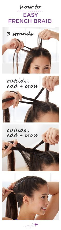 How To: Easy French Braid  |  Keep hair out of your face at the gym or in the yoga studio with this classic French Braid Tutorial  |  1. Section hair into three small strands  •  2. Take the left strand, add a small amount of hair & cross over to the other strand  •  3. Take the right strand, add a small amount of hair & cross over to the other section. Repeat, alternating sides and adding hair each time. Pair with a cute gym outfit and be inspired to burn those calories.