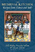 """Medieval Kitchen Free listing of six medieval recipes: Chicken with Fennel, Spice Mixture, Inside-Out Stuffed Fresh Sardines or Anchovies, Crustless """"Sienese"""" Tart, Summertime Cerulean Blue Sauce, Orange Omelette for Harlots and Ruffians."""
