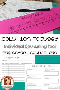 "A simple guide to support your individual counseling session with students. Great for beginners to support the implementation of solution focused counseling or for the veteran counselor to take notes. Includes ""mood meter"" to help solution focused scaling"