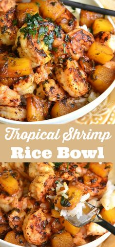 Delicious and aromatic dish is made with juicy shrimp… Tropical Shrimp Rice Bowl. Delicious and aromatic dish is made with juicy shrimp, sweet pineapples, and a beautiful sweet, tangy, and spicy sauce. Shrimp Recipes For Dinner, Shrimp Recipes Easy, Seafood Dinner, Healthy Recipes, Cooking Recipes, Steak Recipes, Crockpot Recipes, Shrimp Rice Bowl Recipe, Shrimp And Scallop Recipes