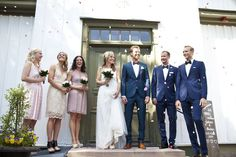 Bow tie and navy Suits for the groomsmen