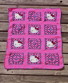 Crochet Hello Kitty Blanket - Pink/Cotton Candy Mix. $60.00, via Etsy.