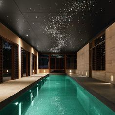 indoor pool with sparkly lights looking like stars. #luxury #home