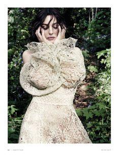 Monica Bellucci wears white lace Ermanno Scervino dress