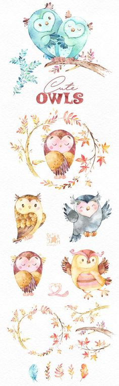 This lovely birds set includes owls and florals. It is just what you needed for the perfect invitations, craft projects, paper products, party decorations, printable, greetings cards, posters, stationery, scrapbooking, stickers, t-shirts, baby clothes, web designs and much more. :::::: DETAILS :::::: This collection includes - 18 Images in separate PNG files, transparent background, different sizes approx.: 13.3-4in (4000-1200px) 300 dpi RGB 2 part of Cute Owls https://www.etsy....