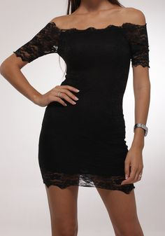 Off Shoulder Lace Dress - Black