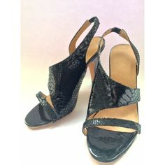 Aka  Gorgeous Leather Handmade Sandals featuring snake print detailing. Featuring a 8.5cm heel