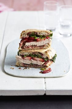 This protein-packed, fruity turkey panini with strawberry pesto is filling and delicious. Turkey Panini, Turkey Sandwiches, Wrap Sandwiches, High Protein Recipes, Healthy Recipes, Healthy Foods, Lean Recipes, Healthy Eating, Healthy Life