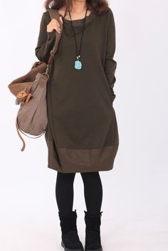 military green dress long sleeved loose dress