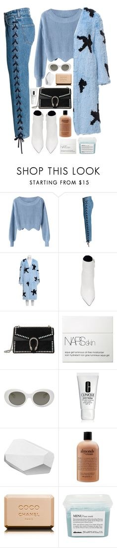 """""""Heebiejeebies"""" by daniielar ❤ liked on Polyvore featuring Blood & Honey, Proenza Schouler, Gucci, NARS Cosmetics, Acne Studios, Clinique, Hermès, philosophy, Chanel and Davines"""