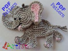 Elephant Crochet Applique Pattern von HomeArtist auf Etsy