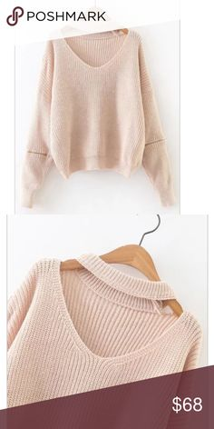 COMING SOON! Apricot Choker Sweater Apricot colored Choker-neck sweater. Oversized fit with edgy zipper detail on the sleeves.   MEASUREMENTS: Length(cm) : 54cm Bust(cm) : 120cm Sleeve Length : 73cm Sweaters