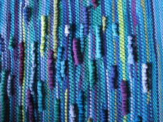 cool blues, handwoven rug from recycled t-shirts. By Susan Richards, #HeartlandLooms