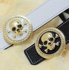 Free Shipping 2013 fashion skull genuine leather belt, men belts, brand belts, women belts, wide belts, embossed leather belts