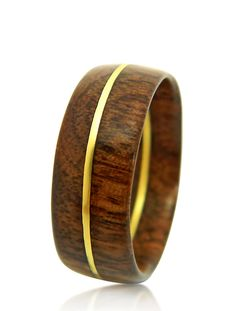 Hand Carved Walnut Ring - Wedding Band - Engagement Ring -  Wood Ring - Men's Ring - Gift - For Him - Brass Ring - Wood Jewelry